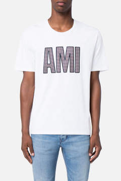 パッチアミTシャツ - PATCHED AMI T-SHIRT HEATHER GREY