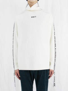 テープニットプルオーバー - JACQURAD TAPE ATTACHED RIB KNIT WEAR WHITE