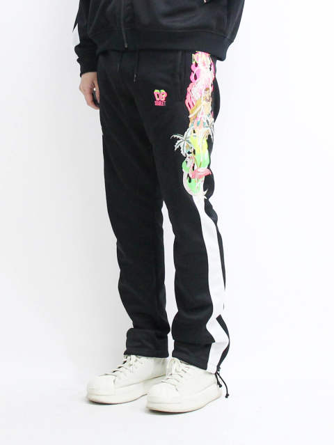 19SSカオス刺繍トラックパンツ - CHAOS EMBROIDERY TRACK PANTS - BLACK