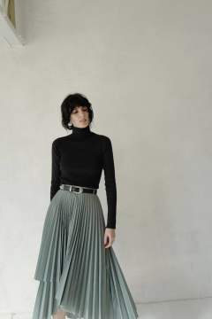 プリーツスカート - WRAP PLEATS SKIRT GREEN