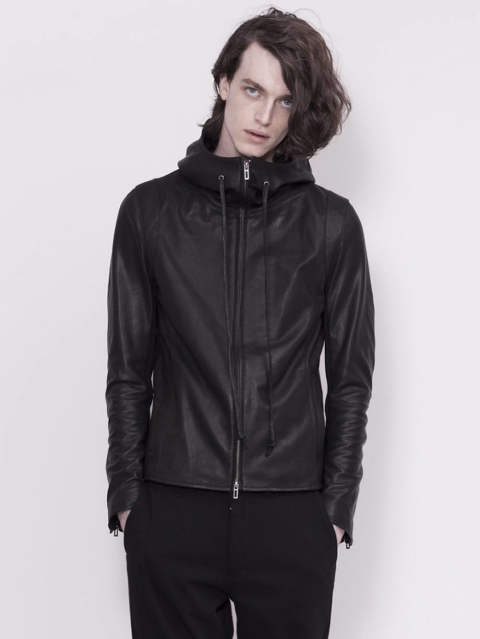 DOMENICO+SAVIO - HOODED LEATHER JACKET