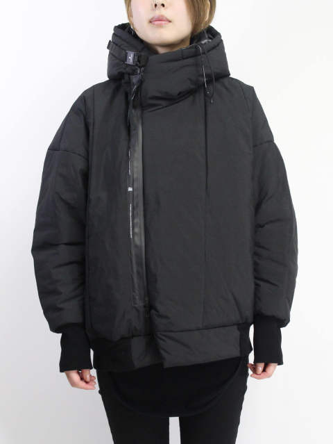フードジャケット - FIXED PADDING HOODED JACKET - BLACK