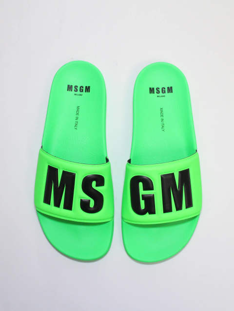 MSGMロゴ サンダル -  LOGO POOL SLIDE - GREEN